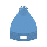 Knitted blue hat. Winter cap. Wool accessory for cold weather. Stock Photo