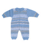 Knitted blue rompers. Royalty Free Stock Photo