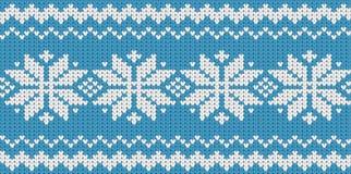 Knitted blue seamless  scandinavian Christmas pattern Stock Photos