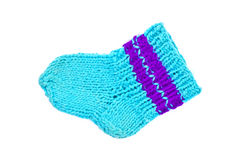 Knitted blue socks Royalty Free Stock Image