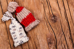 Knitted bobble hats Stock Photo