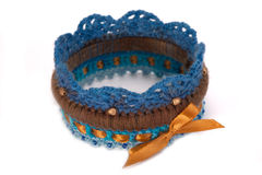 Knitted bracelet Stock Images