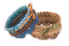 Knitted bracelet Royalty Free Stock Image