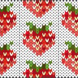 Knitted pattern with a picture of red strawberries. Knitted bright strawberry pattern for decoration of textiles, dishes, wrapping paper Stock Photography