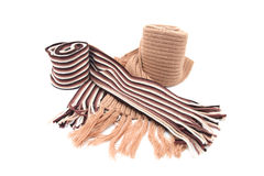 Knitted brown and striped pattern scarf Stock Photography