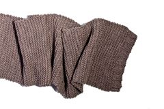 Knitted brown wool scarf royalty free stock photos