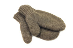Knitted brown woolen vareshek. On a white background Royalty Free Stock Image