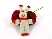 Knitted bunny royalty free stock photography