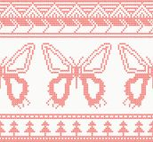 Knitted Butterfly Seamless Pattern in Red Color. Royalty Free Stock Images