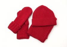 Knitted cap; scarf and gloves. Red knitted cap, scarf and gloves Stock Photos