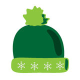 Knitted cap with snowflakes Stock Photography