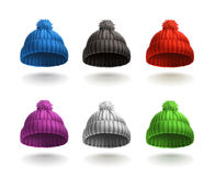 Knitted Caps, Vector Icons Stock Photography