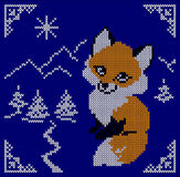 Knitted card with fox. Tree, mountain. Scandinavian blue knitted ornaments. Creative vector illustration.  Stock Image