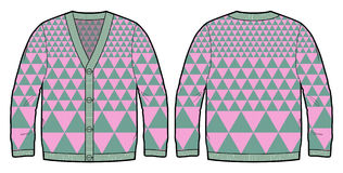 Knitted cardigan with bold pattern. Front and back view of knitted cardigan royalty free illustration