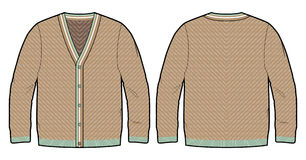 Knitted cardigan. Front and back view of a knitted cardigan vector illustration
