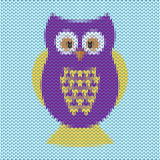 Knitted cartoon funny purple and yellow owl vector background Royalty Free Stock Photo