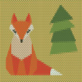 Knitted cartoon ginger fox cover Royalty Free Stock Image