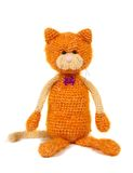 Knitted cat toy. Isolated on white Stock Photos