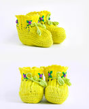 Knitted children's shoes Royalty Free Stock Photos