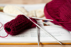 Knitted children sock Stock Photos
