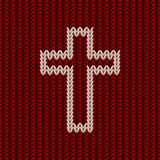 Knitted christian cross banner, vector Stock Photography