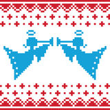 Knitted christmas  angles card on seamless b Stock Images