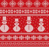 Knitted christmas background with snowmen and snowflakes. Geometric knit seamless pattern. Vector illustration Royalty Free Stock Photo