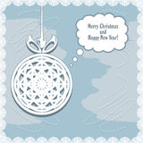 Knitted Christmas ball on the abstract background  Royalty Free Stock Photography