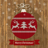 Knitted Christmas ball with deers Royalty Free Stock Photos
