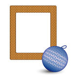 Knitted Christmas ball and frame on white Royalty Free Stock Photography