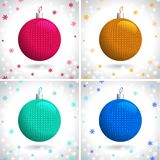 Knitted Christmas Balls Stock Photography