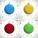 Knitted Christmas Balls Stock Images