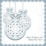 Knitted Christmas balls with snowflakes Stock Photography