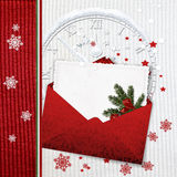 Knitted Christmas card with envelope Stock Photo