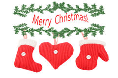Knitted Christmas decorations Stock Photos