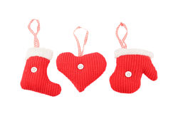 Knitted Christmas decorations Stock Images