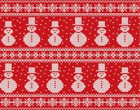 Knitted christmas design with snowmen and snowflakes. Geometric knit seamless ornament. royalty free illustration