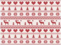 Knitted christmas pattern. With deers, vector illustration Royalty Free Stock Image