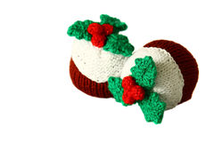 Knitted Christmas puddings A Stock Images