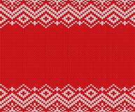 Knitted Christmas Red And White Geometric Ornament. Xmas Knit Winter Sweater Texture Design. Stock Images