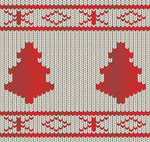Knitted Christmas seamless background Stock Images