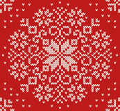 Knitted Christmas seamless pattern Stock Photos