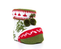 Knitted christmas sock Stock Photos