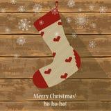 Knitted Christmas sock Stock Image