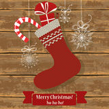 Knitted Christmas sock Royalty Free Stock Images