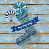 Knitted Christmas sock Stock Photos