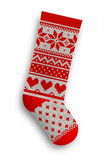 Knitted christmas stocking, illustration Royalty Free Stock Images
