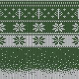 Knitted Christmas sweater pattern with deers, fir-trees, snowflakes. Winter fabric background. Stock vector Stock Photo