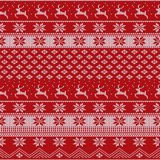 Knitted Christmas sweater pattern with deers, fir-trees, snowflakes. Winter fabric background. Stock vector Stock Photography