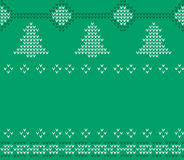 Knitted Christmas Sweater pattern, Green knitwear. Stock Image